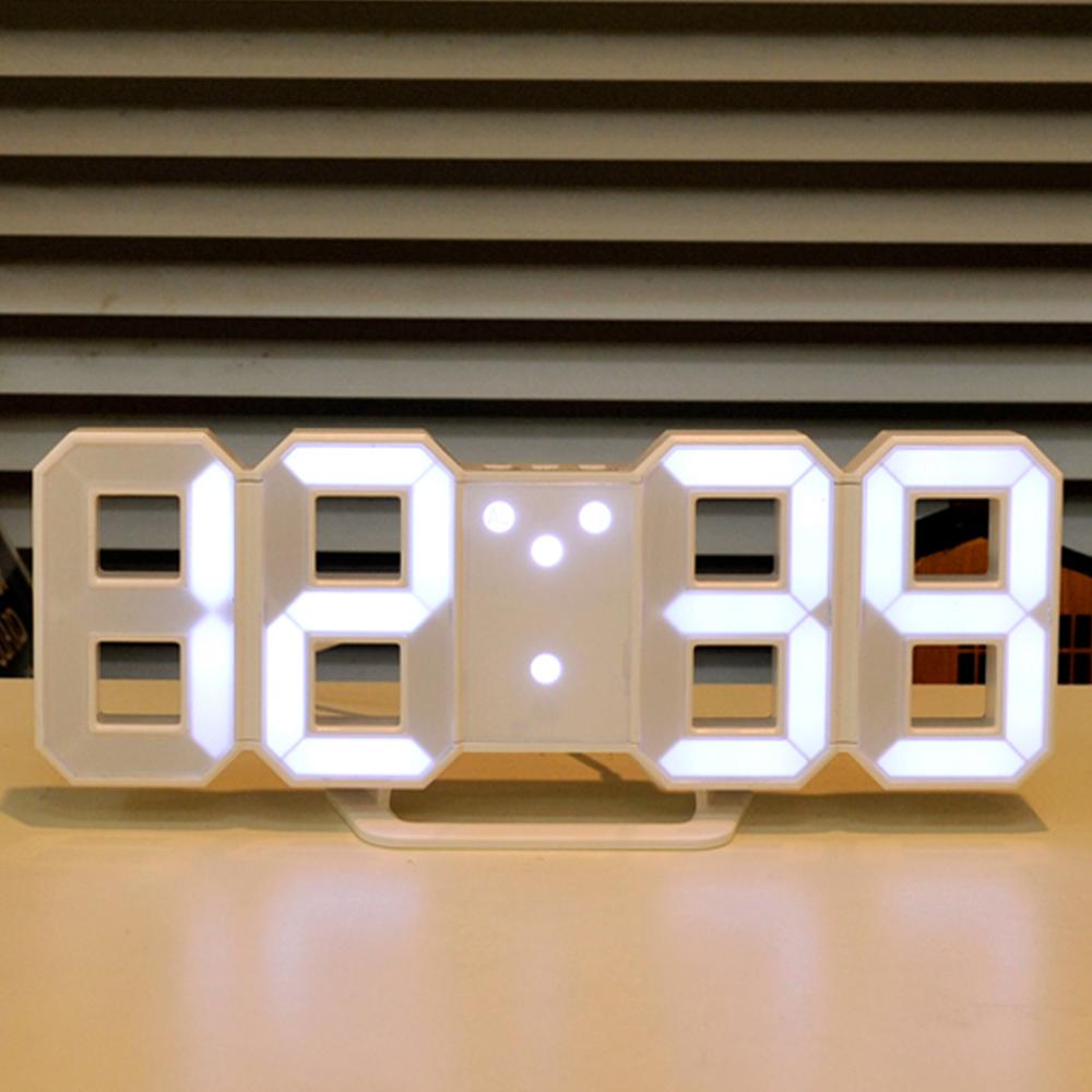 무아스 3D LED 벽시계 미니, 화이트