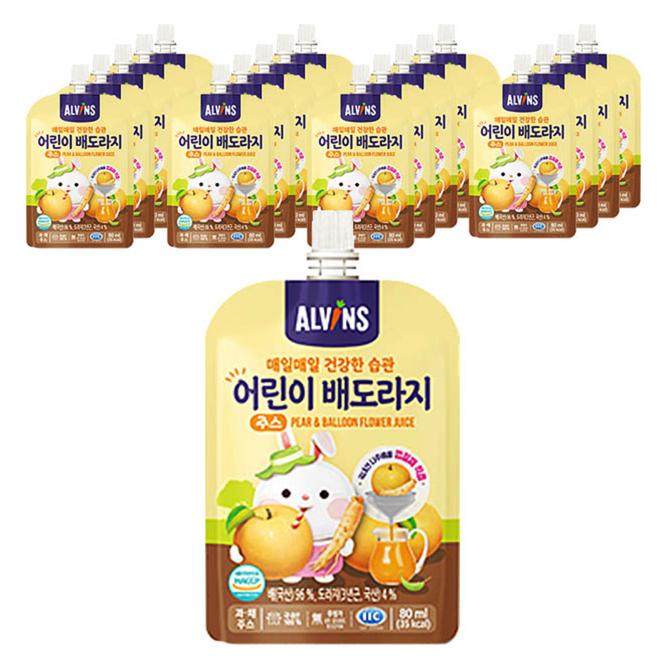 엘빈즈 매일 매일 건강한 습관 어린이 주스 80ml, 배 + 도라지 혼합맛, 20개입