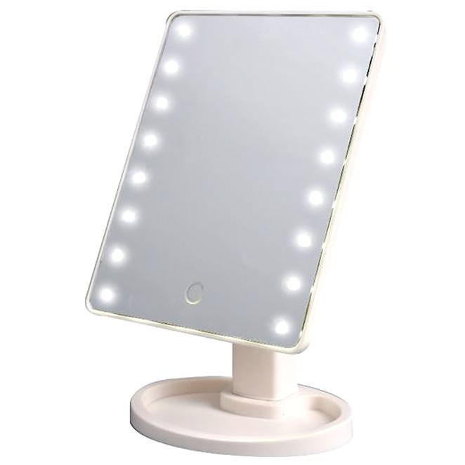 파인블루 LED 뷰티 터치 탁상거울, 화이트