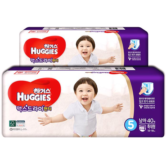 하기스 맥스드라이 팬티형 기저귀 남아용 특대형 5단계(13~18kg), 80매