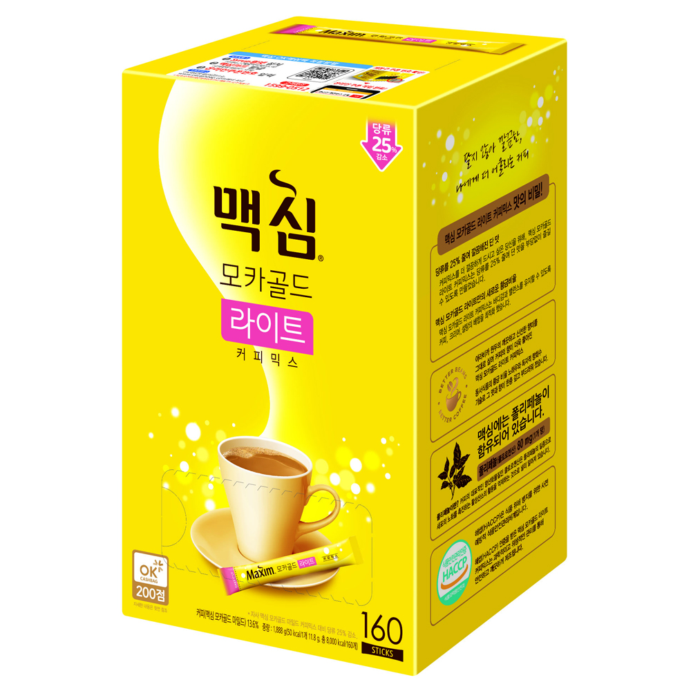 맥심 모카골드 라이트 커피믹스, 11.8g, 160개