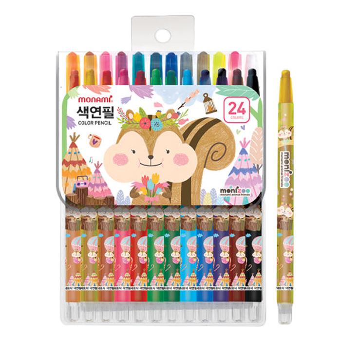 모나미 모니주 여아용 샤프식 색연필, 24색