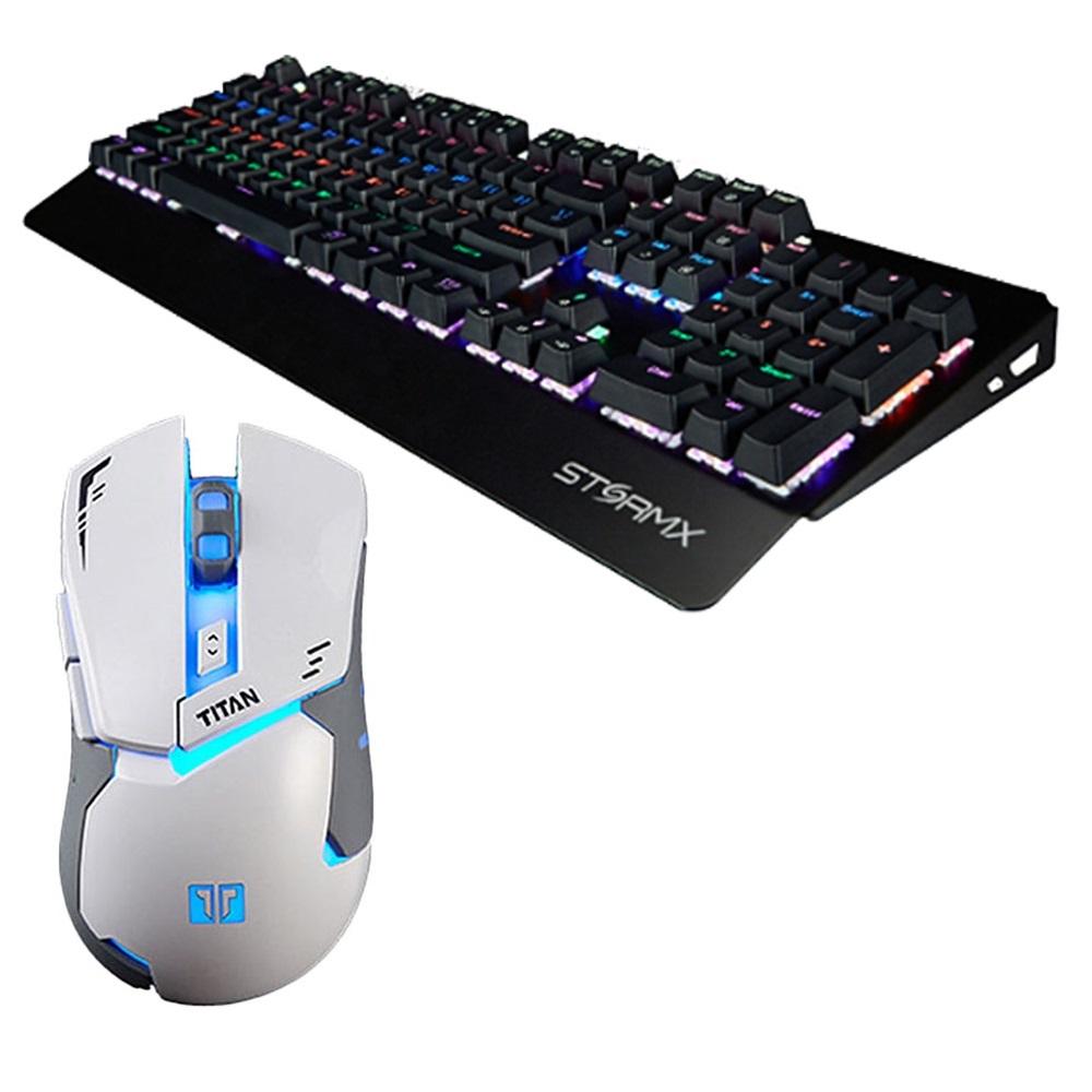 제닉스 게이밍 유선마우스 + 청축 기계식키보드, TITAN MARK II, STORMX K5, 화이트, 블랙