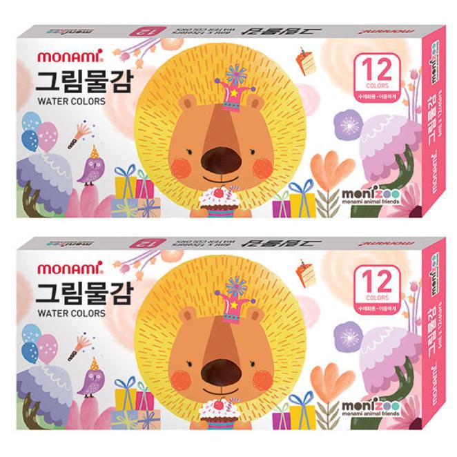 모나미 모니주 그림물감 12색 여 2p, 6ml
