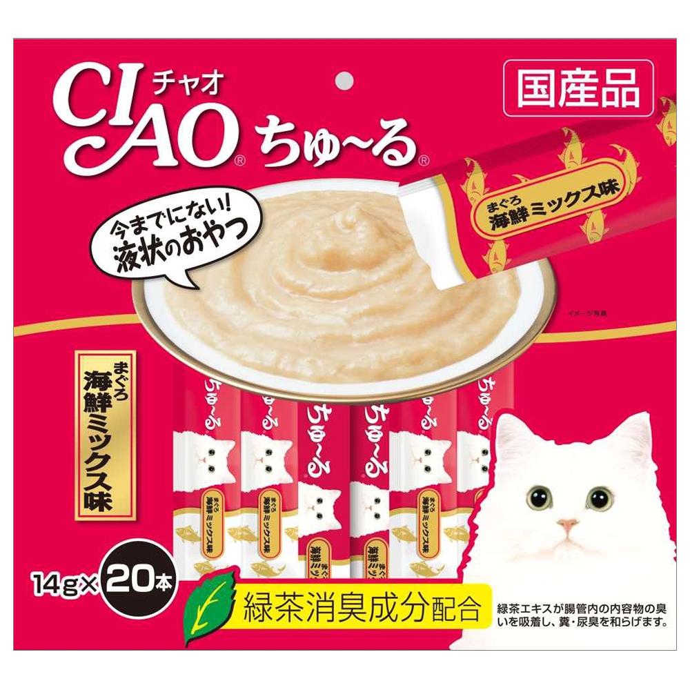 이나바 챠오츄르 고양이 간식 생선, 참치 + 해산물 혼합맛, 20개입