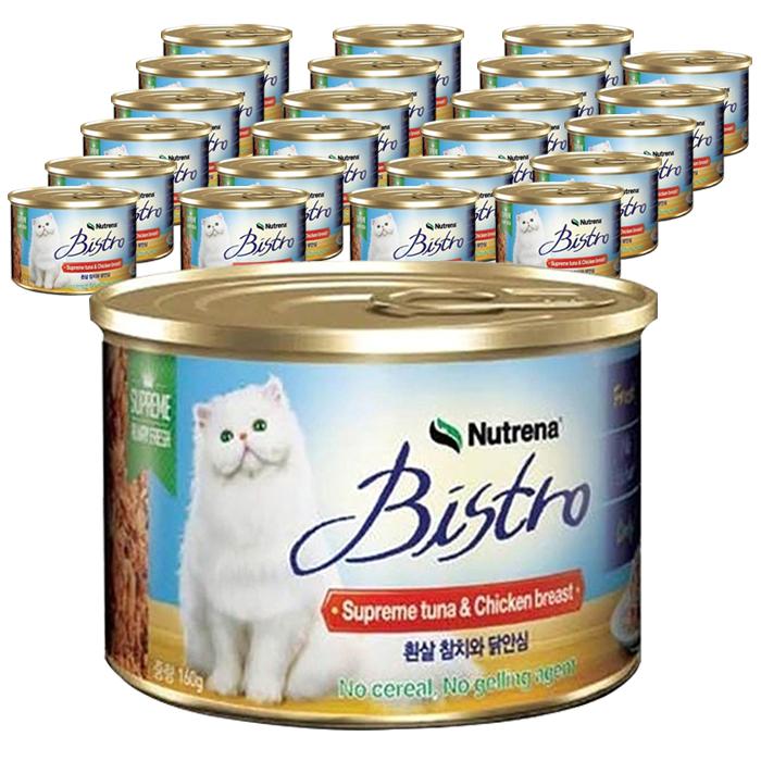 비스트로 고양이용 흰살참치와 닭안심 캔, 생선, 160g