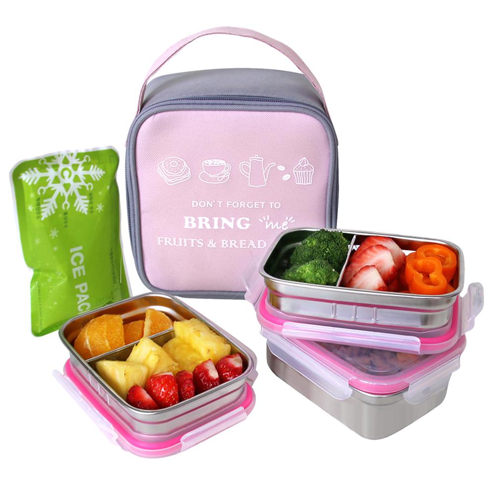 브링미 스텐 3단 도시락 + 가방 + 아이스팩, 핑크, 1세트