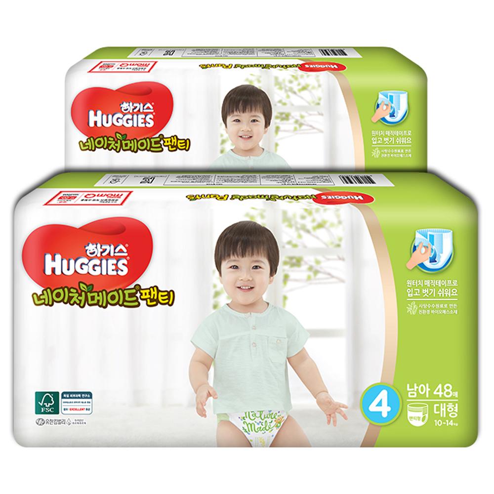 하기스 네이처메이드 팬티형 기저귀 남아용 대형 4단계(10~14kg), 96매