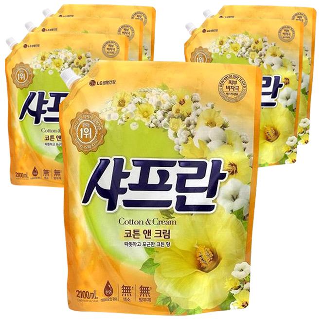 샤프란 섬유유연제 코튼앤크림 리필, 2.1L, 6팩