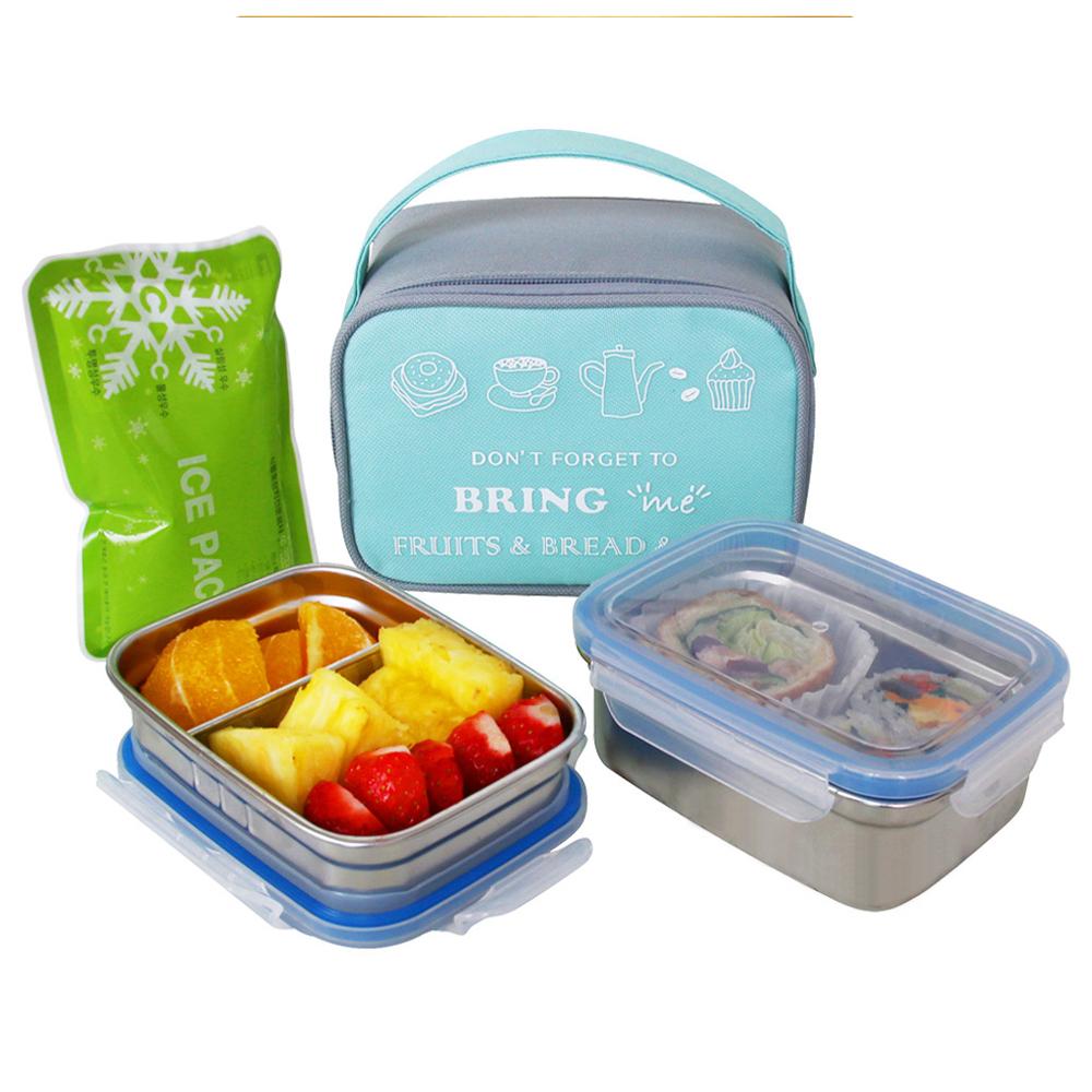 브링미 스텐도시락 2단 세트 + 가방 + 아이스팩, 1세트, 민트