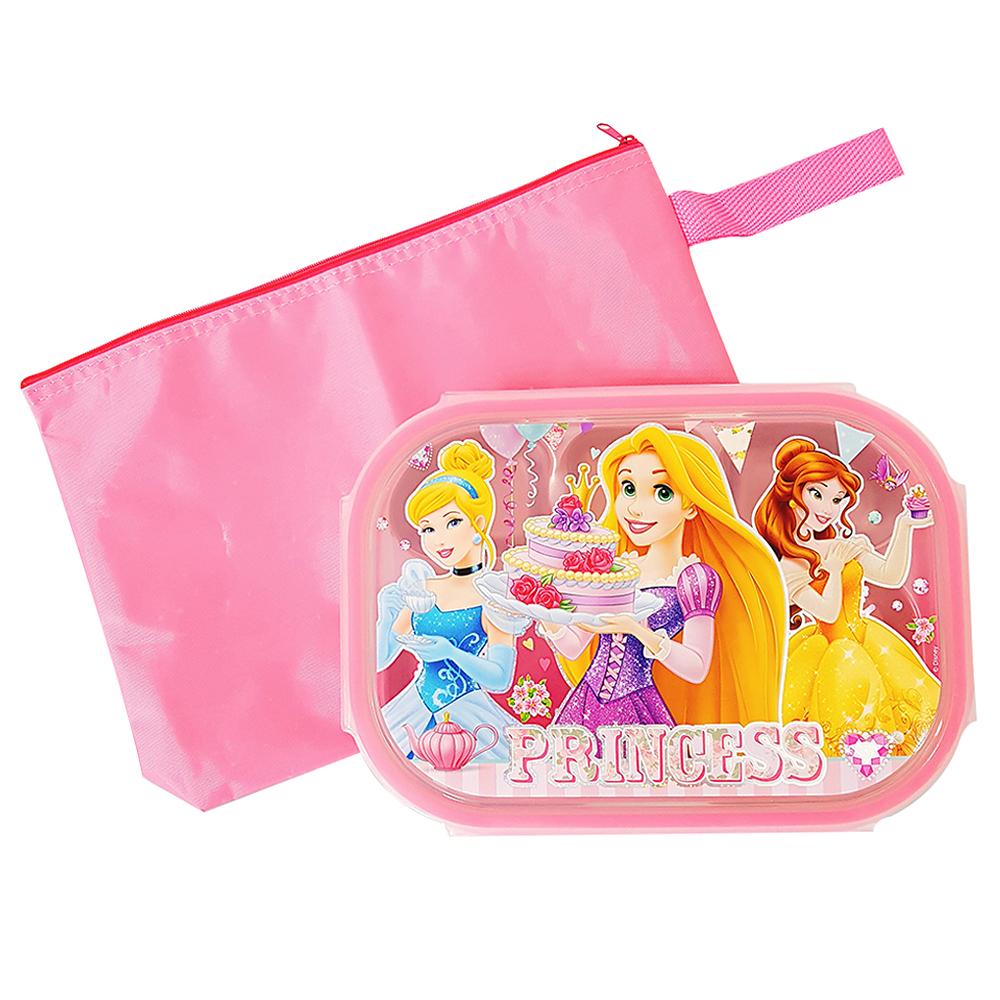 프린세스 가방 스텐 식판도시락 세트, 핑크, 식판 + 뚜껑 + 파우치