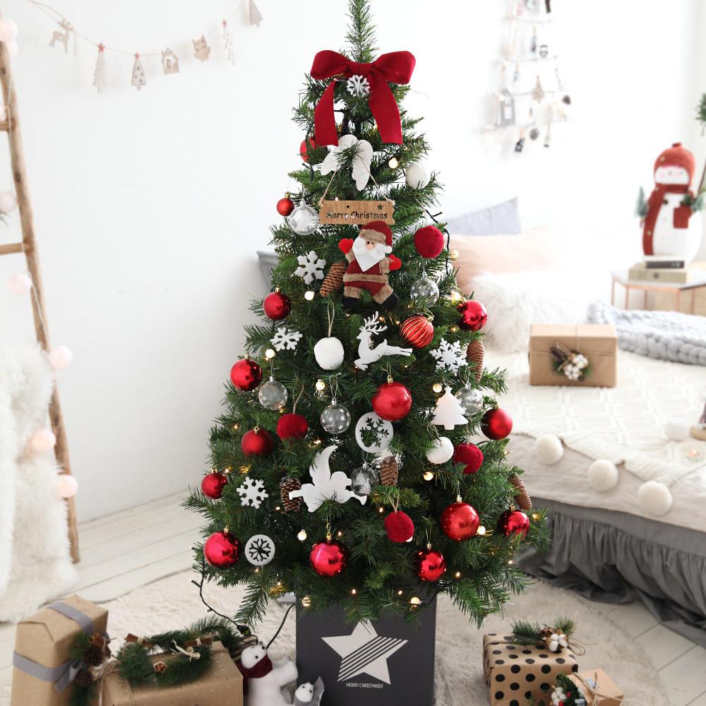 조아트 크리스마스 트리 풀세트 + 윈도우 데코스티커, 라비앙로즈레드