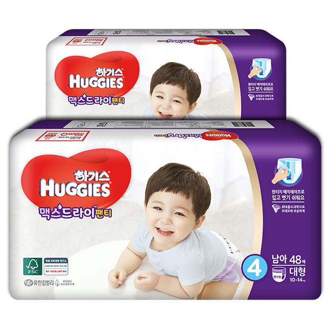 하기스 맥스드라이 팬티형 기저귀 남아용 대형 4단계(10~14kg), 96매