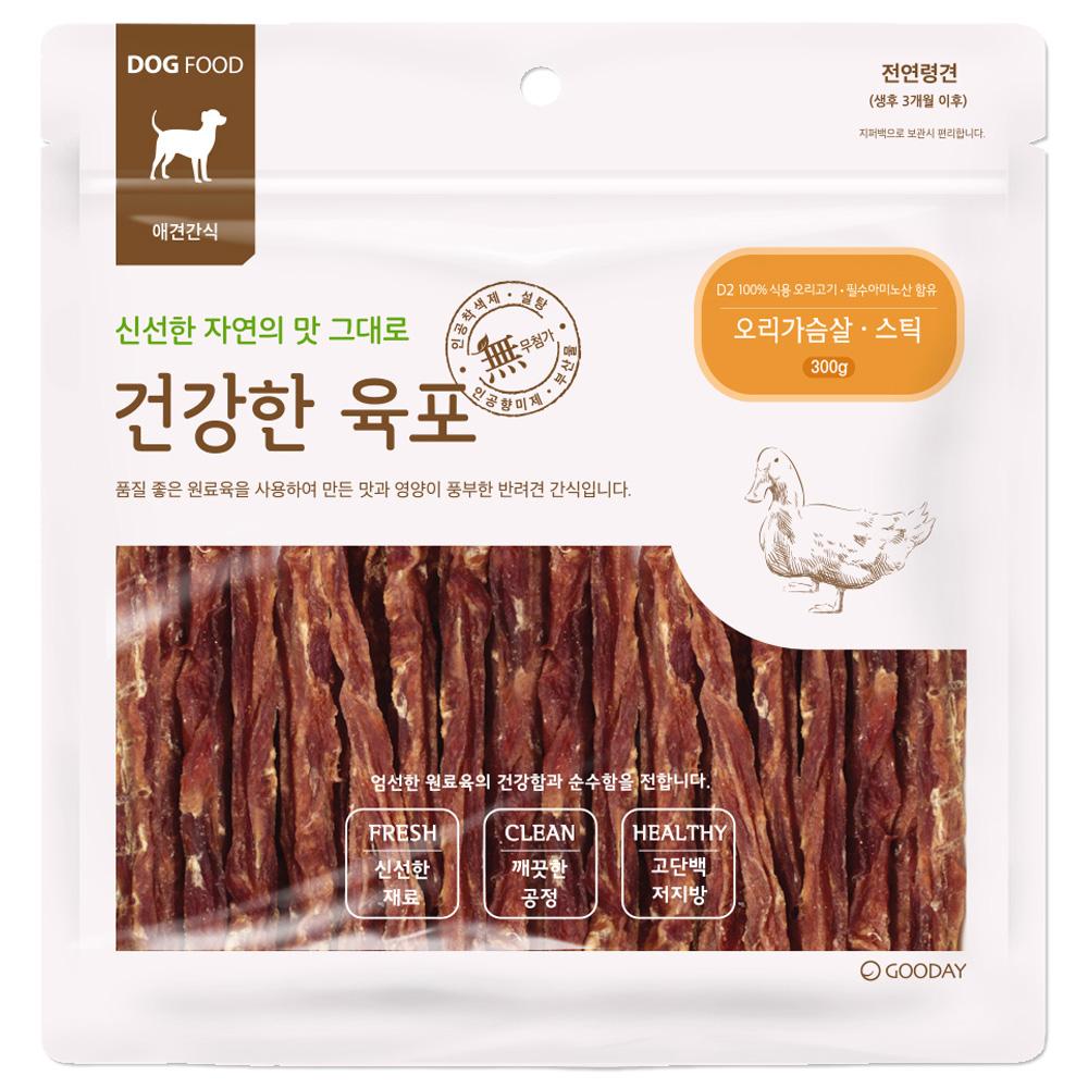 굿데이 건강한육포 반려견간식 대용량 300g, 오리가슴살 스틱, 1개