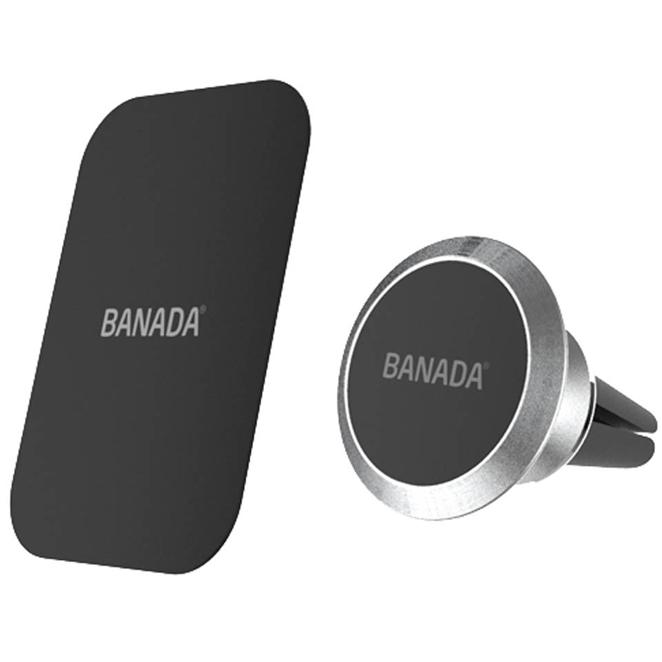 바나다 차량용 디럭스 마그네틱 송풍구 스마트폰 거치대, 1개, 실버