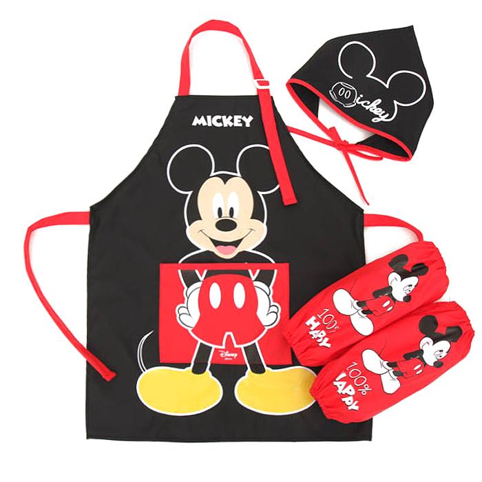 디즈니 유아동용 미키마우스 방수 토시 두건 앞치마 3종 세트