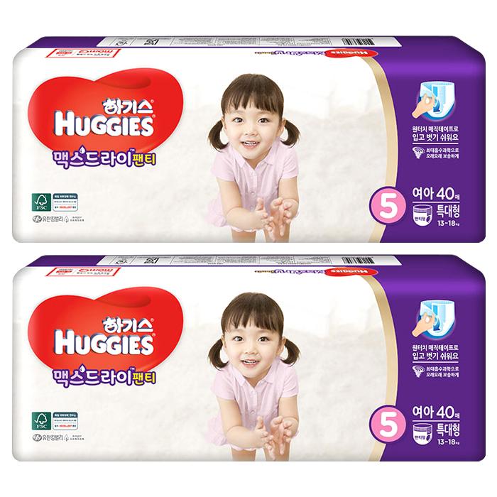 하기스 맥스드라이 팬티형 기저귀 여아용 특대형 5단계(13~18kg), 80매