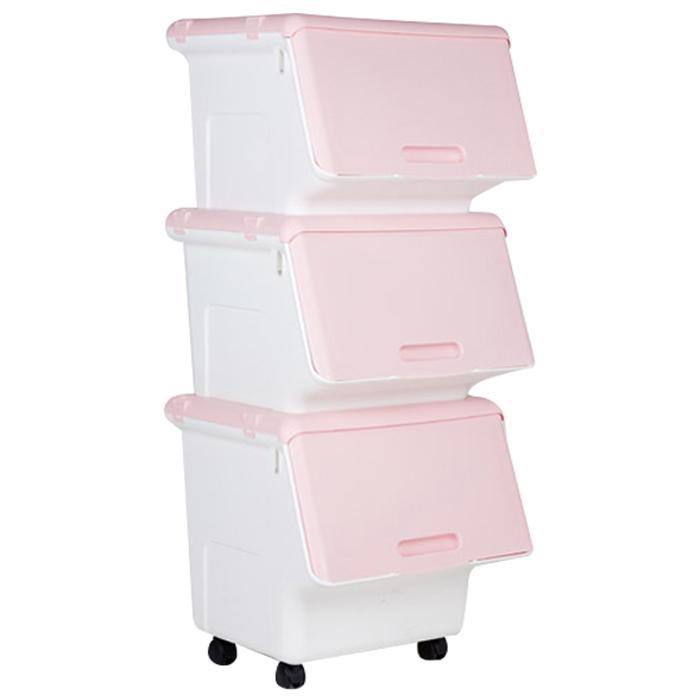 올맘 슬라이딩 리빙박스 대형 60L + 중형 50L 2p, 핑크, 1세트