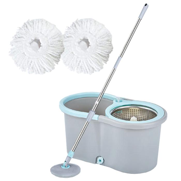 오션웰라이프 물걸레 청소기 일반형 블루 세척 탈수통 + 밀대봉 + 극세사걸레 2p, 1세트