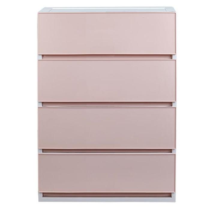샤바스 컬러스토리 서랍장 와이드 4단 600 일체형, 핑크, 1개