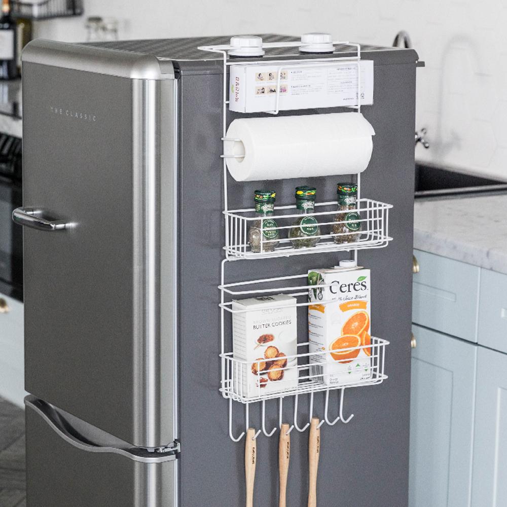 토프 냉장고 걸이 다용도 수납선반, 화이트