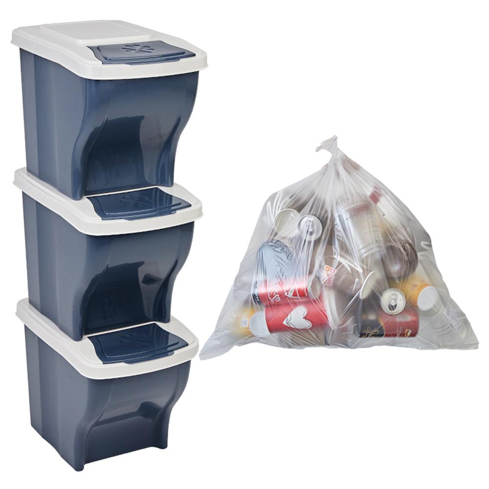 리벤스 가정용 분리수거함 3p + 분리수거 비닐봉투 40L 100p + 스티커, 애쉬블루, 1세트