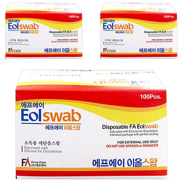 에프에이 이올스왑 일회용 알콜솜, 100개입, 3개