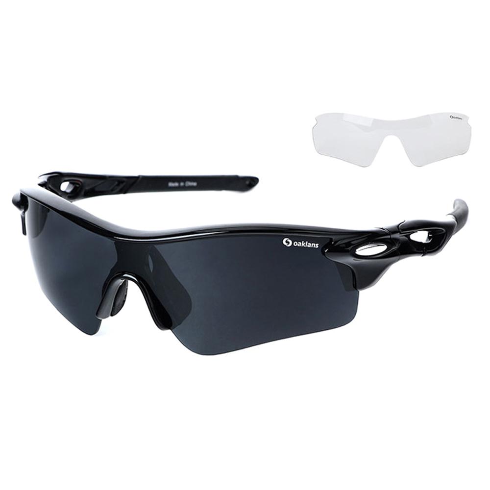 오클렌즈 스포츠 선글라스 프레임 + 편광 + 변색 렌즈 세트 Q210, 프레임(블랙), 편광렌즈(스모그)
