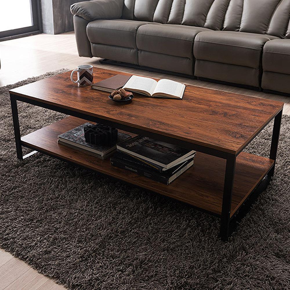브런트 스틸 2단 소파 테이블, 체리브라운 + 블랙프레임