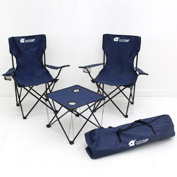 조아캠프 트래블 캠핑 테이블 의자 4종 세트, 네이비