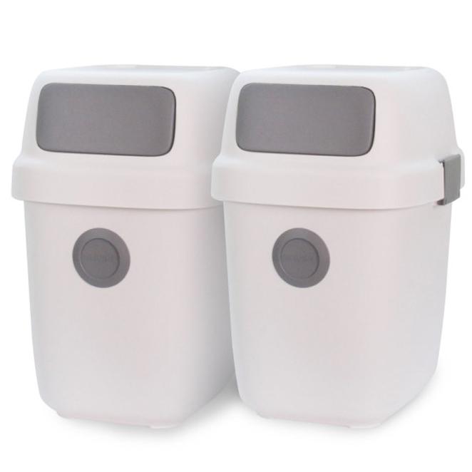 올리빙 도트 가정용 재활용 분리수거함 60L, 화이트, 2개입