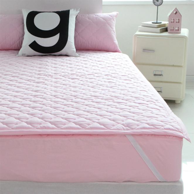 바숨 순면 누빔 침대 패드, 핑크