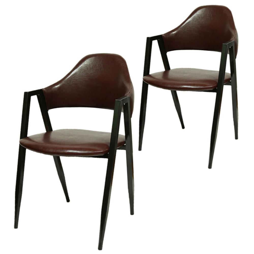 비에프컴퍼니 비올렛 철재 의자 2p, 진밤