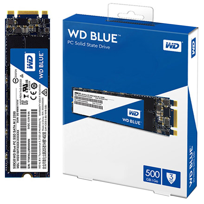 WD BLUE 3D NAND SATA SSD M.2 2280, WDS500G2B0B, 500GB