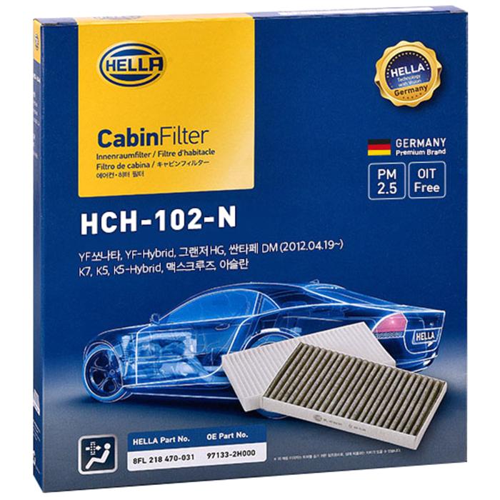 헬라 차량용 에어컨 필터, H102(올 뉴 카니발, K5, K7, YF 쏘나타, 그랜져 HG, 싼타페 DM), 1개 (POP 70429215)