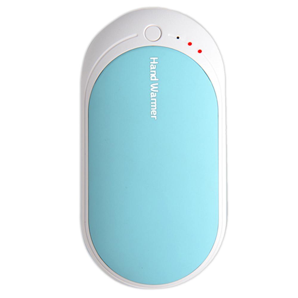 핸드워머 보조배터리 겸용 USB 충전식 양면 손난로, DM-500, 블루