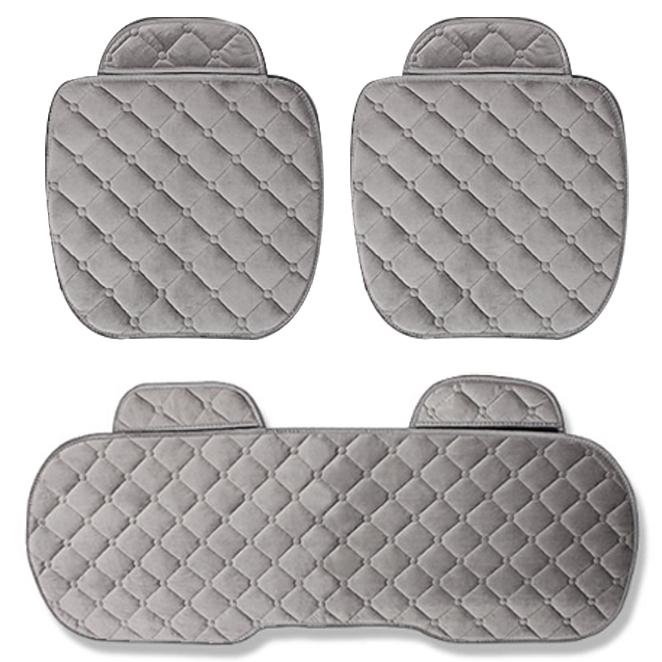 지엠지모터스 퀼팅 극세사 겨울 차량용 방석 3p 세트, 그레이 큐브, 1세트
