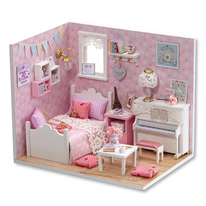 아디코 DIY 미니어처 하우스 키트 큐트 핑크하우스 키트, 혼합 색상