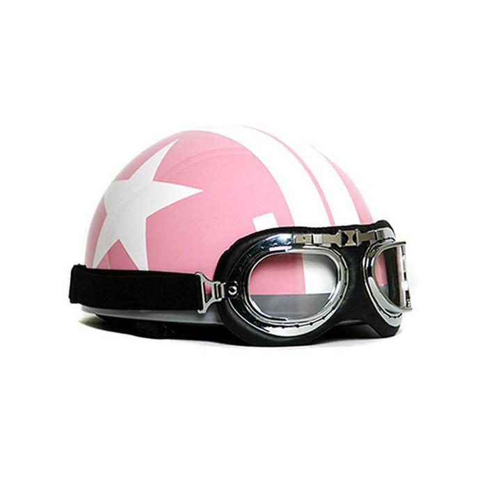 오토바이 스쿠터 헬멧 / 연예인 클래식 스타 고글 헬멧 화이트스타(핑크)