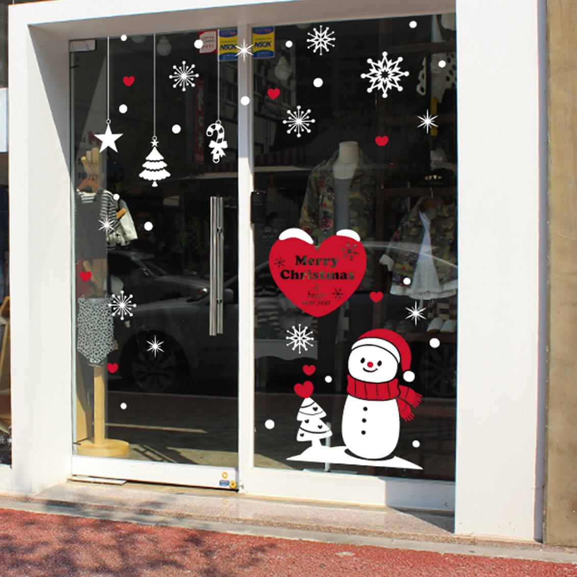 제제데코 하트 트리 눈사람 크리스마스 스티커, 혼합색상
