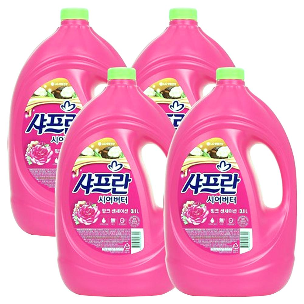 샤프란 시어버터 섬유유연제 핑크 센세이션 본품, 4개, 3.1L