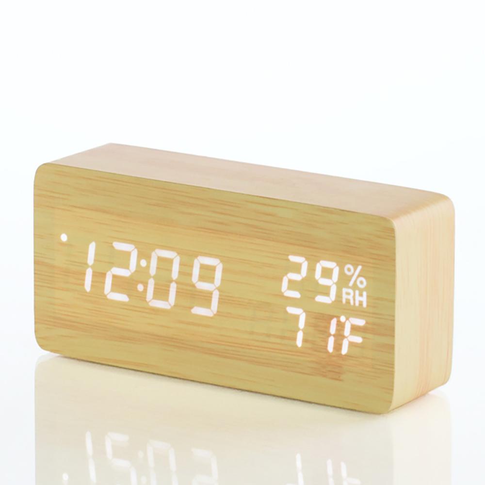 플라이토 우드 온습도 LED 탁상시계, 혼합 색상