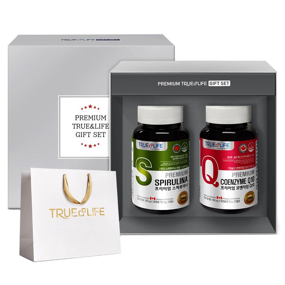 트루앤라이프 프리미엄 스피루리나 + 코엔자임Q10 선물세트 + 쇼핑백, 2종, 1세트