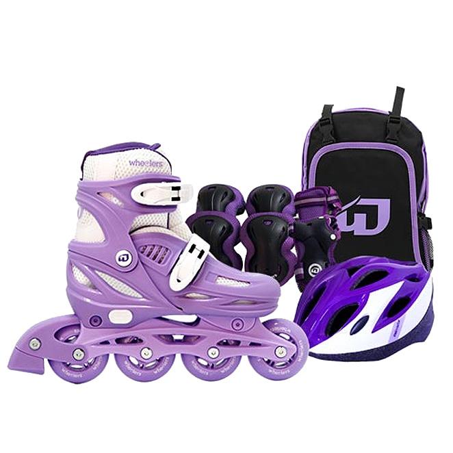 휠러스 아동용 에이스2 인라인스케이트 + 가방 + 보호대 + 헬멧 콤보 세트, 퍼플