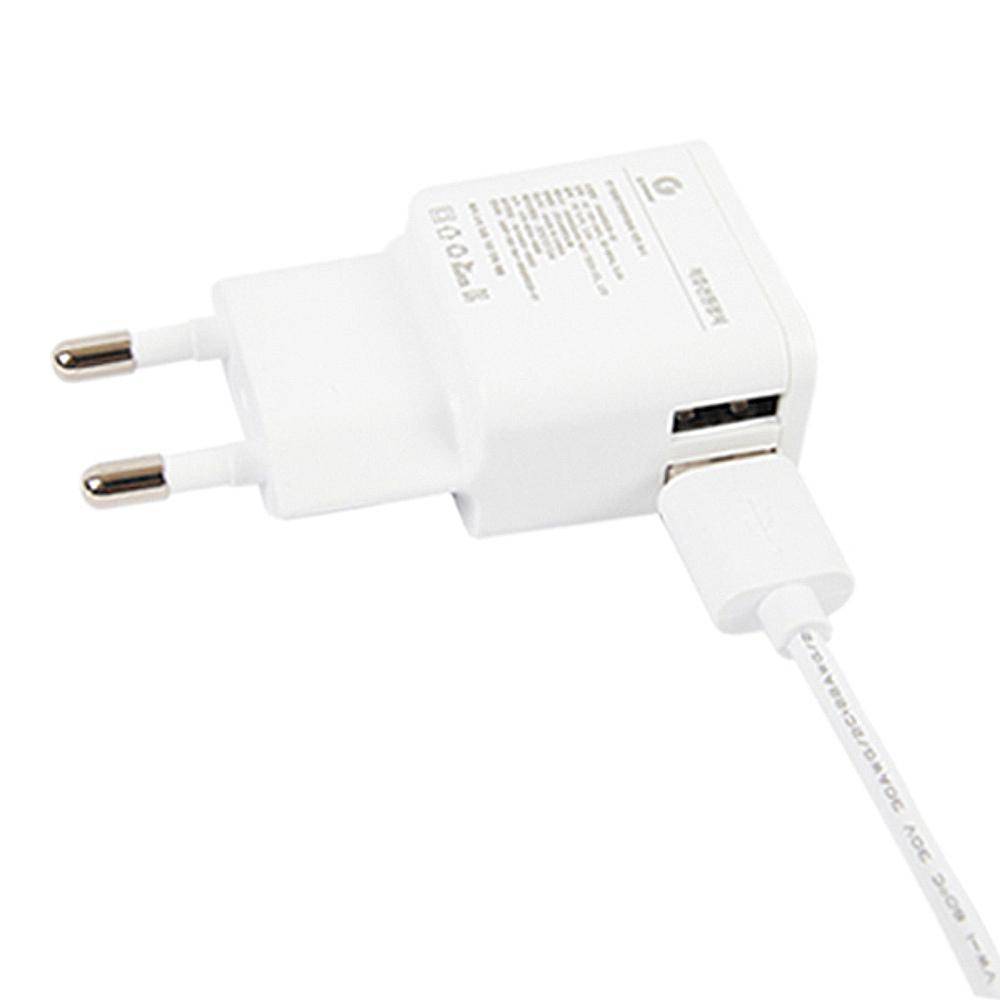 지파워 마이크로5핀 USB 2PORT 고속 충전기 SRM05020-02, SRM05020-02(화이트), 1개