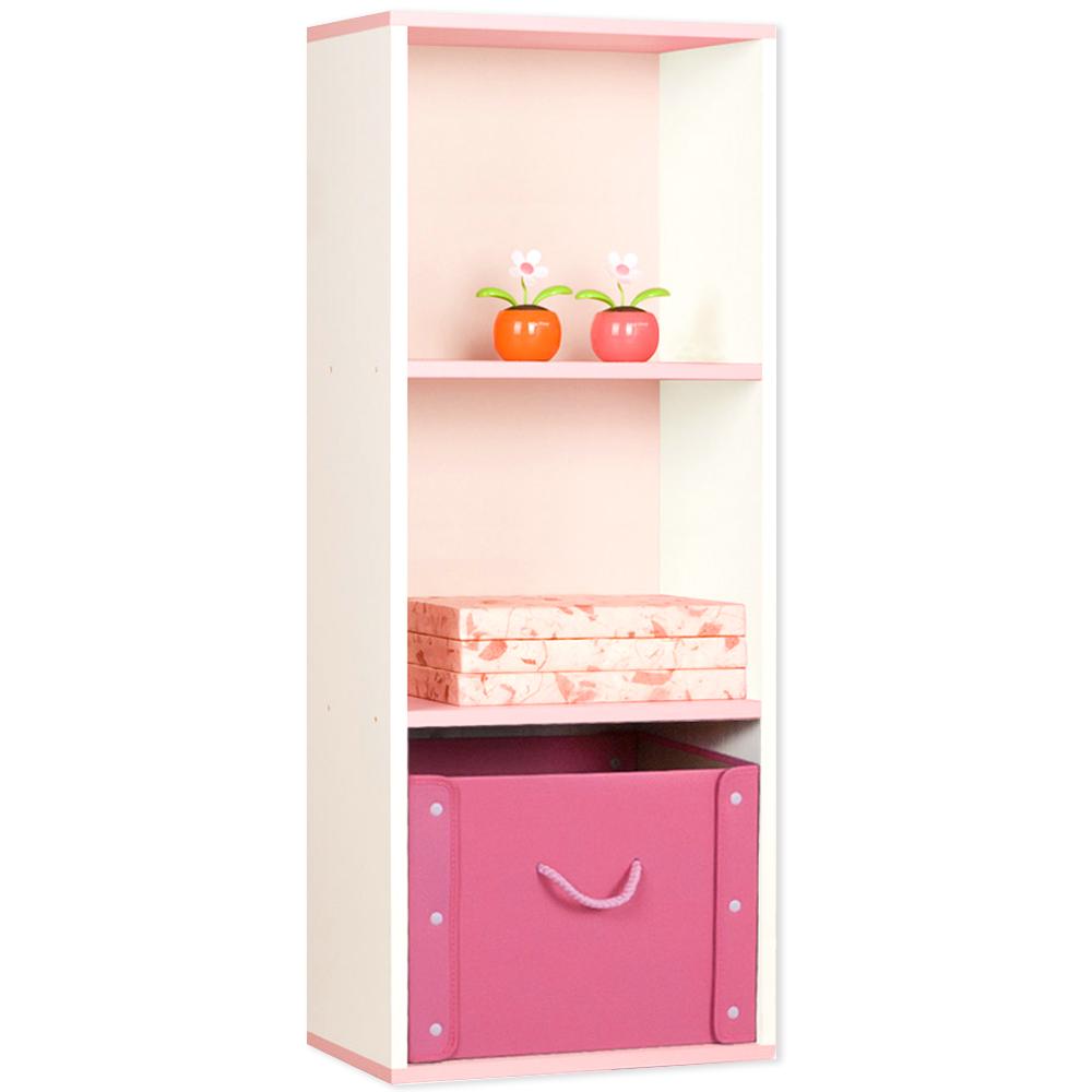하우디가구 칸높은 3단 DIY 칼라박스, 백색 + 핑크