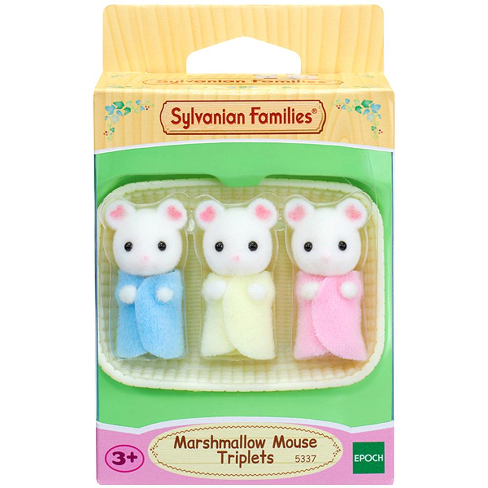 실바니안 마쉬멜로 마우스 세쌍둥이 피규어 + 아기바구니 5337, 1세트
