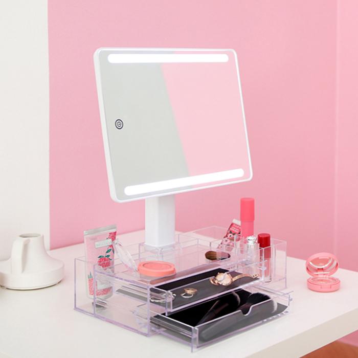 무아스 LED조명거울 화장품정리함 뷰티박스, 화이트