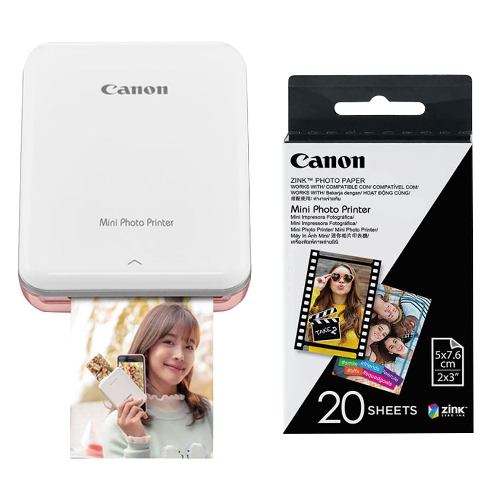 캐논 인스픽 미니 포토 프린터 휴대용 로즈골드 + 인화지 20p, PV-123