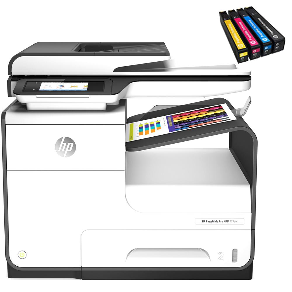 HP PageWide 프로 477 dw 고속잉크젯 복합기 D3Q20B + 카트리지 4색, 혼합 색상